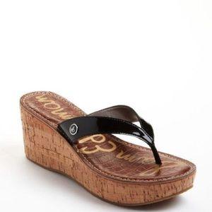 Sam Edelman Black Romy Wedge Sandals Size 7
